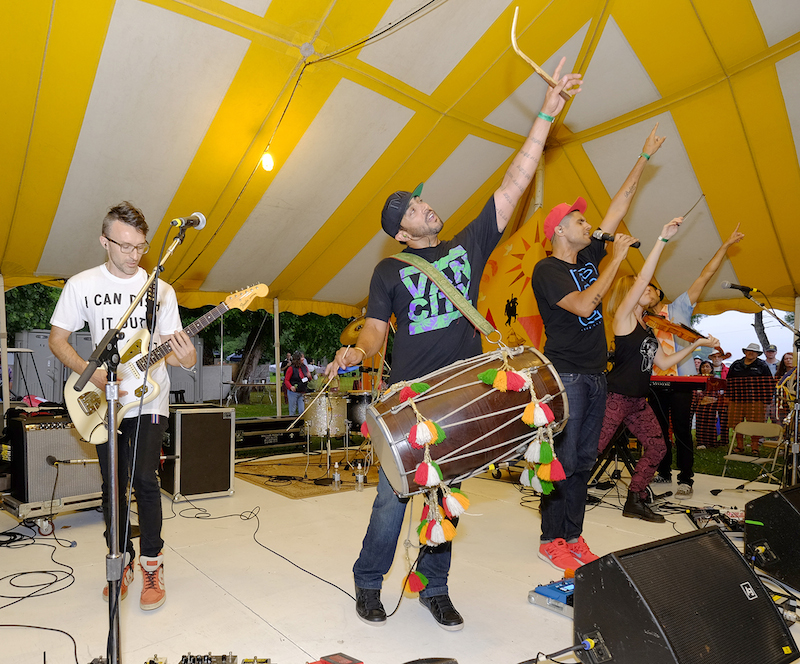 Delhi 2 Dublin at the Dance Tent, 2015 Clearwater Festival.  Photo credit: Mark Lamhut