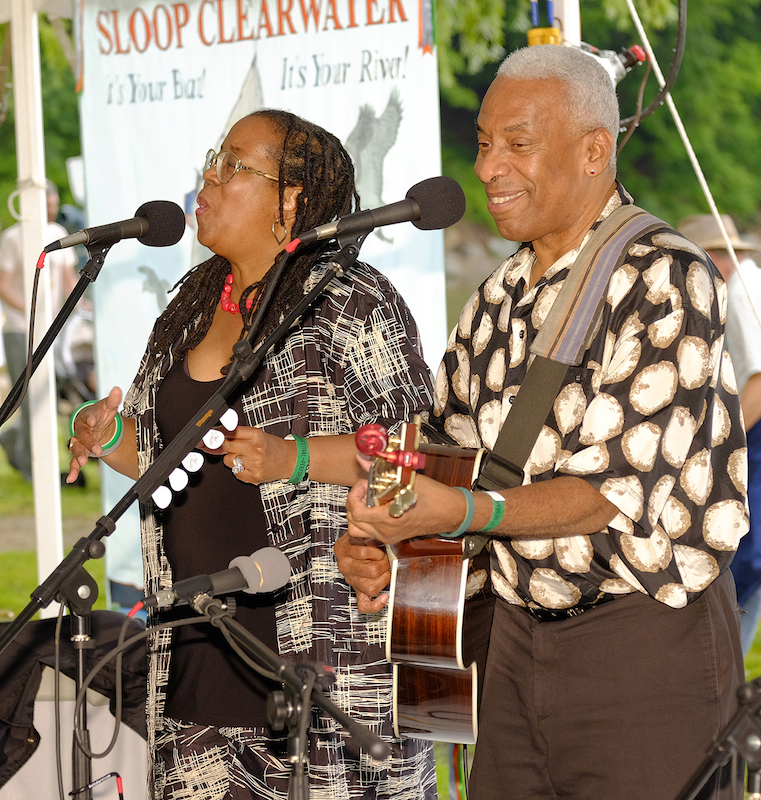 Kim & Reggie Harris at the 2015 Clearwater Festival.  Photo credit:  Mark Lamhut