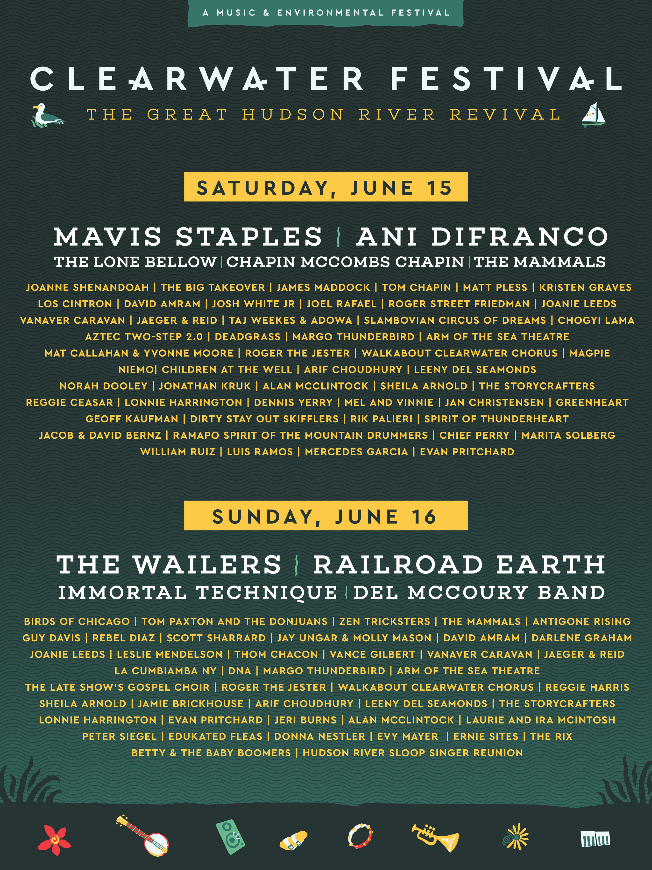 Clearwater Festival 2020 Schedule Schedule – Clearwater's Great Hudson River Revival